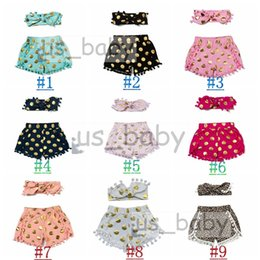 9colors 2016 Kids polka dot shorts girl tassel short pants + headbands set kids Pom Pom shorts leopard polka dot outfits