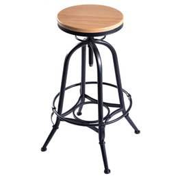 Wholesale New Vintage Bar Stool Industrial Metal Design Wood Top Adjustable Height Swivel