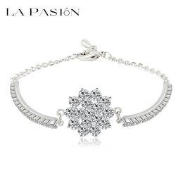 LA PASION brand 2015 trendy clear color small round zircon crystal bracelet cluster flower shape bracelets bangles for women girls gift