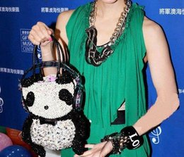 Wholesale ANTEPRIMA crystal bags handcraft panda bag with rhinestone brand purse wallet evening bag