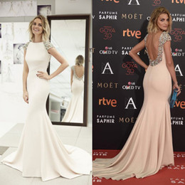 Wholesale Designer Long Skirt Backless Prom Dresses Online for Juniors Sale Arabic Dubai Celebrity Mermaid Crystal Beads Evening Formal Wear Gown