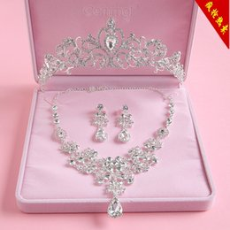 Crown headdress wedding dress accessories hair ornaments knot wedding jewelry three-piece Korean special package mail packages