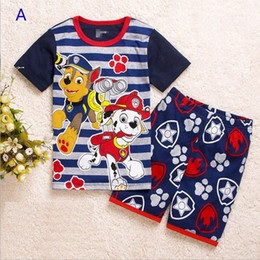 Wholesale Patrol dog design Boy girl stripe suit Pajamas children Cotton cartoon Short sleeve T shirt shorts Suits baby clothes B