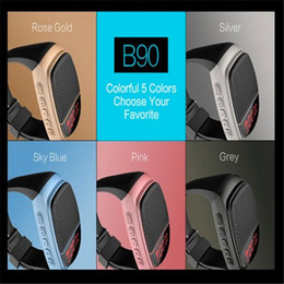 Wholesale Newest B90 Bluetooth speaker stereo outdoor sports watches new wireless card small speaker with LCD display TF FM USB High quality Free DHL