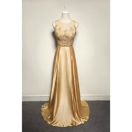 Evenwedding Jewel Neck Lace Satin Evening Dress 2016 Floor Length Evening Gowns Gold Color Fast Shipping