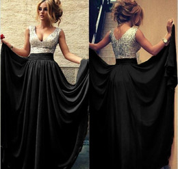 2019 Summer Cheap Evening Dresses V Neck A line Chiffon Sequins Long Prom Dress Burgundy Black Party Gowns