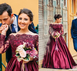 2016 New Arabic Burgundy Evening Dresses Off Shoulder Long Sleeves Illusion Beaded Purple Satin Sweep Train Formal Party Dress Prom Gowns