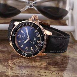 Wholesale 2015New Luxury Brand BLAN Fifty Fathoms Fathoms Rose Gold Case Quartz Gents Watch Best Wristwatches