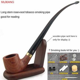 Wholesale 9 quot cm Tools Kit Long Classic Rosewood Smoking Pipe with Metal Ring Filter Wooden Tobacco Pipe Lord of the Rings China Factory ad0008