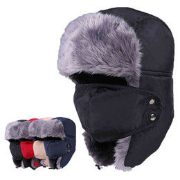 Wholesale Winter Warmer Trapper Bomber Hats Adult Winter Warm Earflap Russian Snow Ski Caps for Men and Women