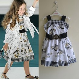 Wholesale Children Animal Robes - 5pcs lot (2-7Y) monnalisa Dress, Girls patterned suspender dress costume girl summer dress, robe reine des neiges enfant, children dress