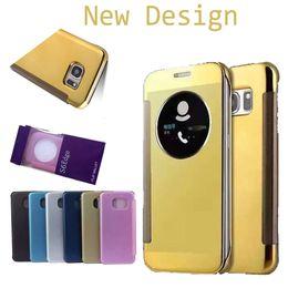 New Design For Galaxy S7 S7 EDGE S7 PLUS S6 Edge and S6 Edge Plus Case,Mirror View Clear Flip Case Cover Hyperbolic Mirror SCA159