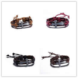 Wholesale Christmas Rope Bracelets - Mixed Order alloy leather cross charm bracelets & bangles retro hip-hop style jewelry Christmas gift for men and women Free shipping
