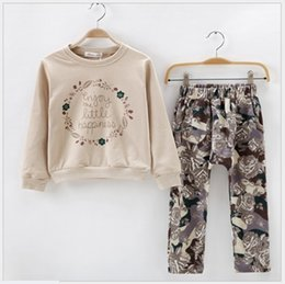 Retail Autumn New Girl Sports Casual Sets Children Tracksuits Kids Sweatershirt Tops+Flower Printing Pants 2pcs Sets Girls Suits 100-150cm