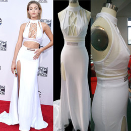 White Evening Dresses Long Gigi Hadid Celebrity Dresses Sexy Split Two Piece Evening Gowns Court Train Chiffon 6421