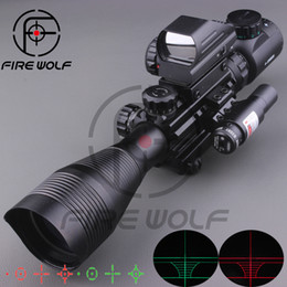2017 NEW 4-12X50EG Tactical Rifle Scope with Holographic 4 Reticle Sight & Red Laser Combo Airsoft Sight Hunting