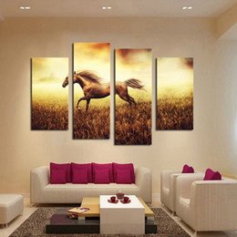 Hot Sell Unframed 4pcs Abstract Running Horse Large HD Decorative Art Print Painting On Canvas For Living Room Wall OilPaintings Pictures
