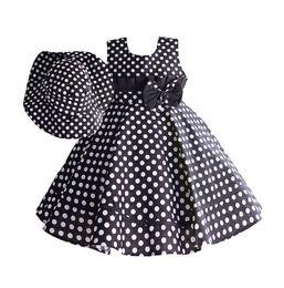 Wholesale Fashion Summer Polka Dot Dress For Girl With Hat Sleeveless Bow Ruffler Princess Dresses Toddler Girl Clothes robe fille enfant T