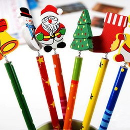 Wholesale Cute Cartoon Style Pencil Creative Christmas Gift Best Student Christmas Prize Newest Stationery Pencil Lovely Wood Decoration Noel Gift