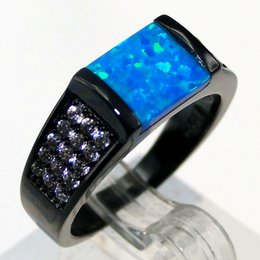 Wholesale Hot Sale Black Plating Blue Fire Opal Wedding Band Rings For Women And Men Synthetic Inlay Opal Jewelry