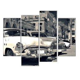 Wholesale LK4221 Panel Modern Panoramic View Of Shabby Old Havana Street With Vintage Classic American Cars Oil Painting On Canvas Wall Art The Pic