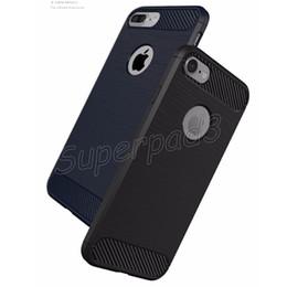 Protection téléphone cellulaire à vendre-Pour iPhone 7 i7 plus Carbon Fiber Phone Case TPU silicone téléphone portable Retour Sleeve Shell antichoc anti-empreintes digitales Housse de protection