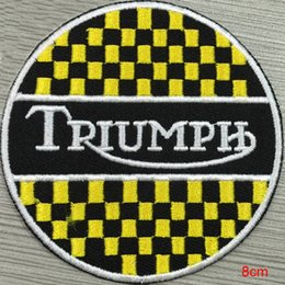 Triumph silver metallic custom logo patch iron on cloth hat or bag free shipping can be custom embroidery factory in china