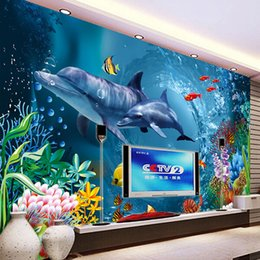Underwater World Wallpaper Ocean Wall Mural Dolphin Photo Wallpaper Children Bedroom Living Room Office TV Backdrop 3D Room decor Wallpaper