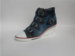 Wholesale Hot Products Ash Shoes Genialbis Buckled Wedge Ankle Boots Sneakers Blue Denim On Hot Sale High Top Canvas Tide Women Shoes Size