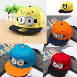 Wholesale Despicable Me Hip Hop Hats Children Basketball Cap Flat Edge Snapback Baseball Caps Adjustable Fall Winter Kids Cartoon Caps