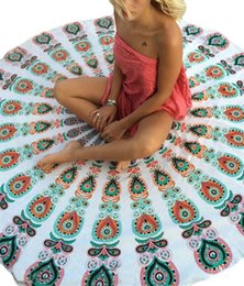 40pcs Round Beach Towels Newest Bohemian Mandala Round Beach Tapestry Hippie Throw Yoga Mat Towel Indian Roundie Chiffion Shawl 150cm