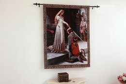 Wholesale The Accolade Medieval Knight Fine Art Tapestry Wall Hanging Home Decor Gift Cotton Jacquard Woven x cm