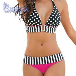 Bikini 2016 New Cute Sexy Wave Stripe Split Bikini Halter Strap Ladies Swimwear Trade Europe Australia Brand