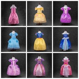 Wholesale sleeping beauty sofia Rapunzel snow white Cinderella belle frozen princess party costume dress girls tutu ball gown for girls designs