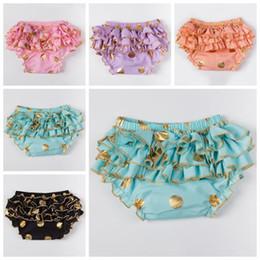 girls gold polka dot shorts baby tutu bloomers childrens ruffled shorts kids underwear toddler cotton short pants boutique shorts wholesale