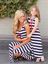 Summer new mother and daughter clothes girls sequins anchor stripe vest long dress womens beach long dress Family dress A8947