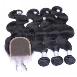 Bundles with Closures Lace Closure with 3 Bundles Human Hair Weft Extensions 8A Brazilian Peruvian Indian Malaysian Hair Body Wave