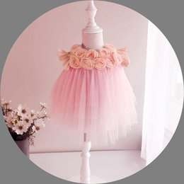 New 2016 Orange Pink Baby Girl lace Tutu Dresses Newborn Infant Jumpsuit Flowers Fashion Summer baby Girl dreses wholesale