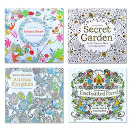 Wholesale 4 Designs Secret Garden An Inky Treasure Hunt and Coloring Book Children Adult Relieve Stress Kill Time Graffiti Painting Drawing Book