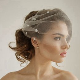 Silk Tulle Bandeau Birdcage Wedding Veil With Flowers Headband Veil Short Bridal Veils White Ivory Beige Tulle Birdcage Veils