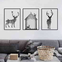 Wholesale Nordic Vintage Black White Deer Head Animals Silhouette A4 Big Art Print Poster Wall Picture Canvas Painting No Framed Home Decor