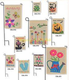 Wholesale 100pcs Burlap Garden Flag DIY Liene Yard Decorative Flags Hanging Home Custom Print Decoration Banner Ads Flags