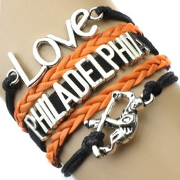 Wholesale Custom Infinity Love National Hockey League Philadelphia Flyers Bracelet Ice Hockey Player Fans Adjustable Bracelet Bangles Drop Shipping
