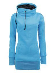 Wholesale High Collar Women Casual Hoodie Sweatshirt Warm Winter Black Long Hoodie Jogging Femme Harajuku Tracksuit Quality Pullover US
