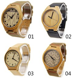 Wholesale 4 styles Classic Bamboo Wooden Watch japanese miyota movement wristwatches Pure natural bamboo watches for men women with gift box