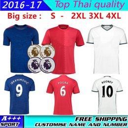 Wholesale Big size XXL XXXL XL MancHESTER Jerseys Man Utd IBRAHIMOVIC POGBA Rooney Jerseys football shirts