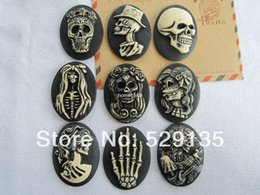 Wholesale Skull Cameo Cabochon - Free Shipping! Min. order is $10 (mix order), Resin Hot Mix Skull Cameo Set, Resin Flat Back Cabochon for Jewelry, DIY (30*40mm)