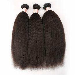 Brazilian Kinky Straight hair Weave 3Pcs lot Light Coarse Yaki Human Hair bundles Italian Yaki Straight Hair G-EASY