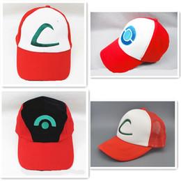 Wholesale 4 Styles Poke pet Cartoon Caps Ash Ketchum Trainer Hat Costume Cap Adult Mesh Hat Trucker hat caps embroidery children Baseball