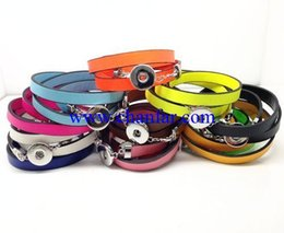 Colorful leather wrap bracelets for snap button charm ,DIY snap button leather wrap bracelet for fashion jewelry
